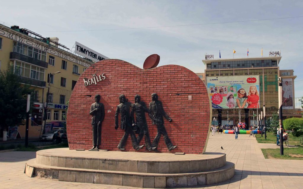 A statue of the Beatles in the center of Ulaanbaatar